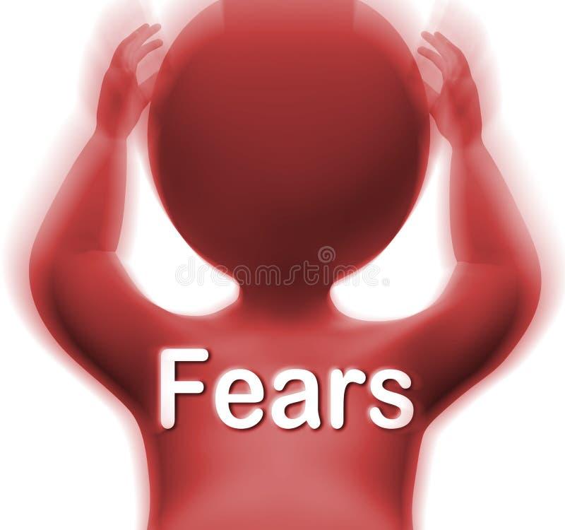 O homem dos medos significa ansiedades e interesses das preocupações ilustração royalty free