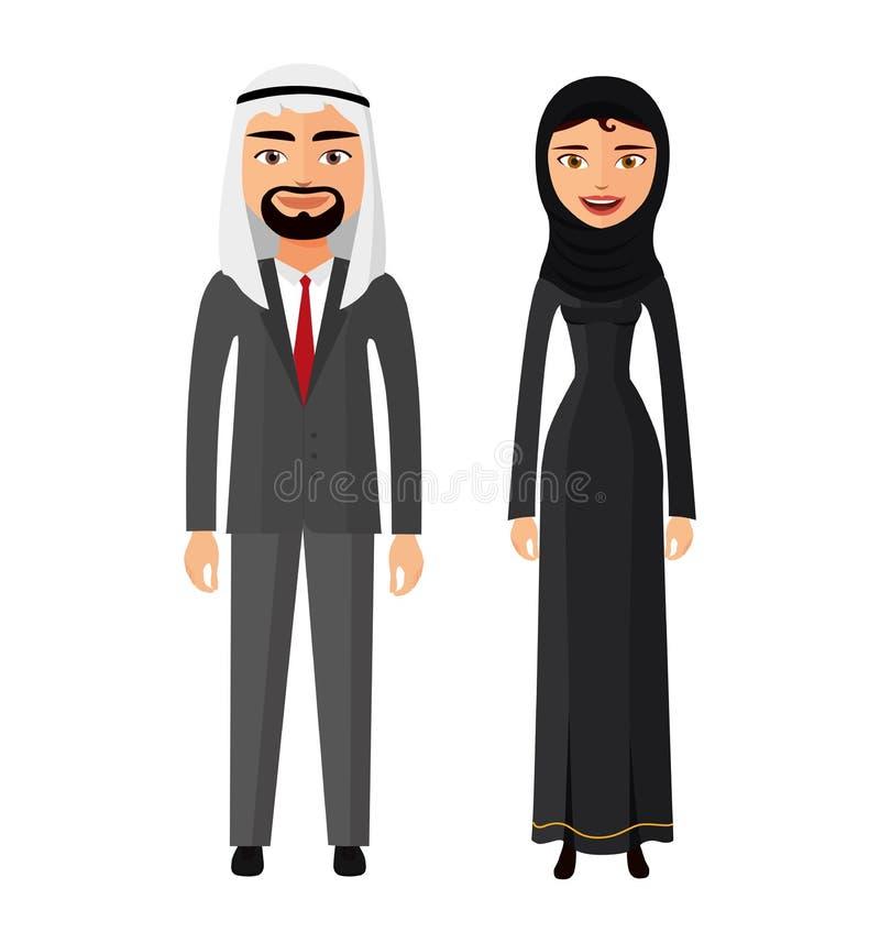 O homem e a mulher árabes dos pares junto na roupa nacional tradicional vestem o vetor do traje ilustração royalty free