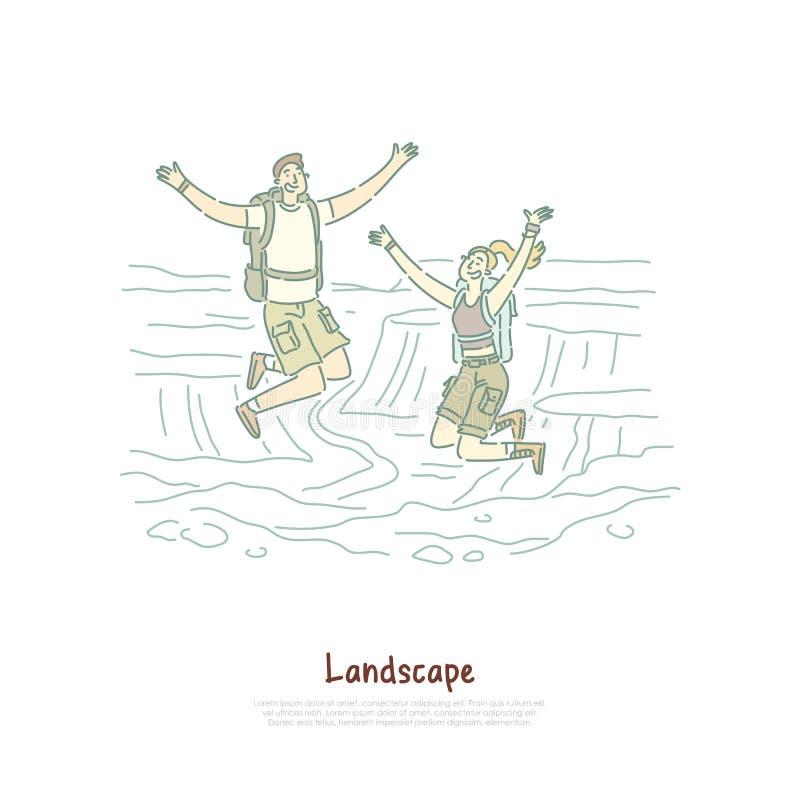 O homem e a mulher com trouxas, turistas felizes saltam, o feriado de acampamento, viagem à garganta, caminhando a bandeira do cu ilustração royalty free