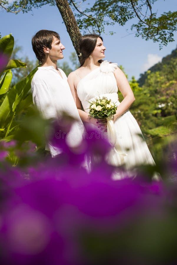O homem e a mulher começ casaram os tropics imagem de stock