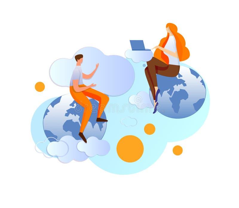 O homem e a mulher comunicam-se através da tecnologia do Internet ilustração stock