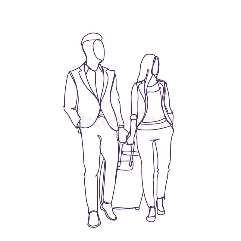O homem e a mulher de negócio que andam com mala de viagem viajam junto silhueta do esboço ilustração do vetor