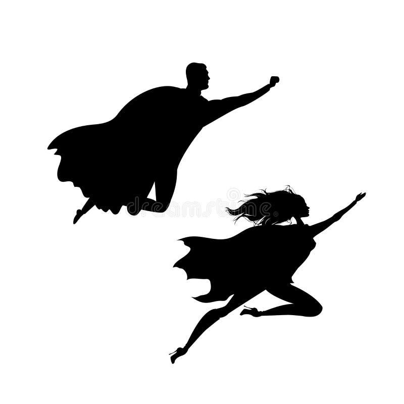 O homem e a mulher do super-herói mostram em silhueta, isolado no backgroun branco ilustração do vetor