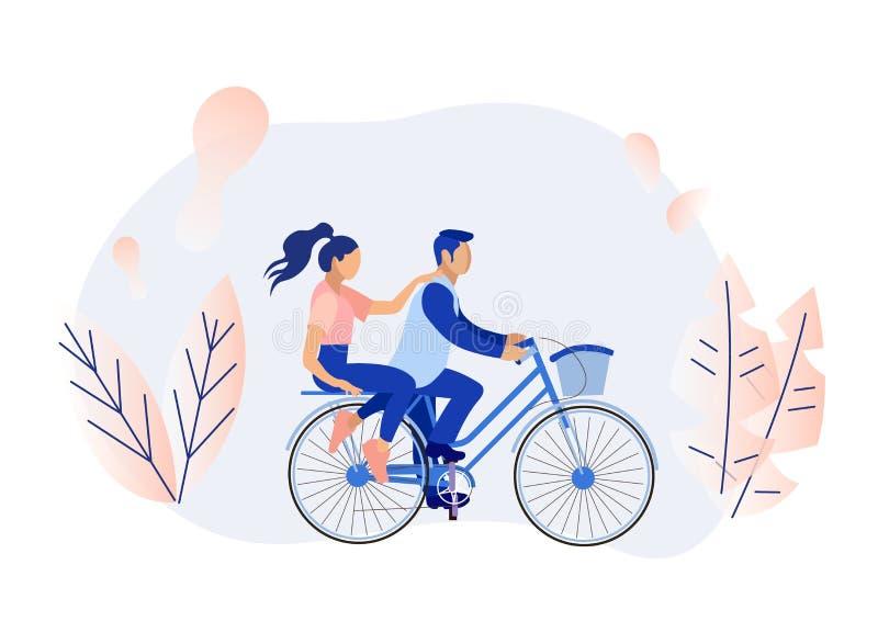 O homem e a mulher dos desenhos animados acoplam a ciclagem na floresta ilustração royalty free