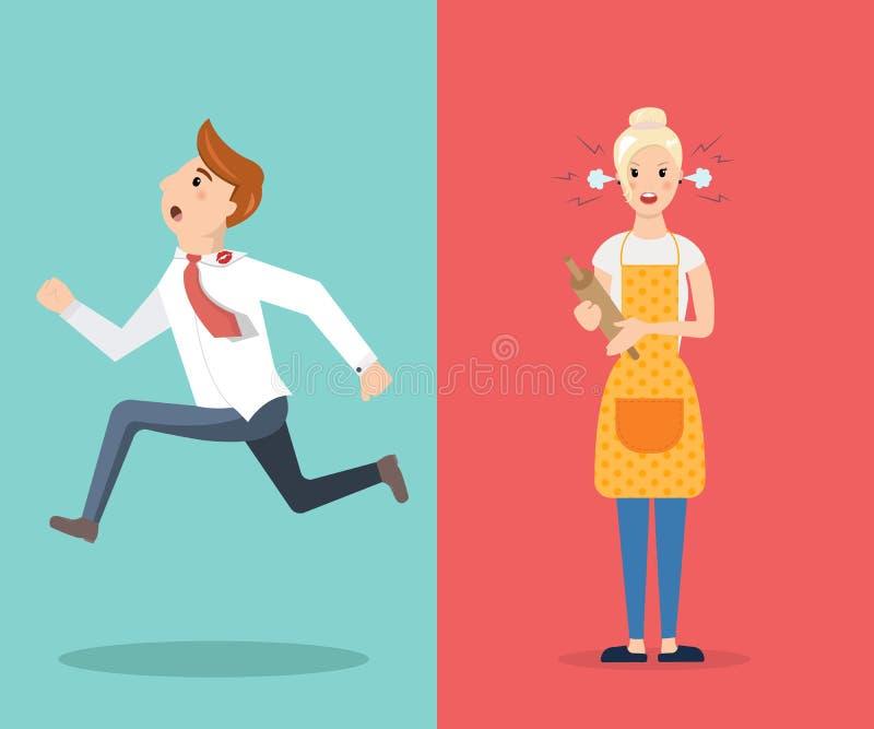 O homem e a mulher dos pares do conflito da família juram ilustração stock