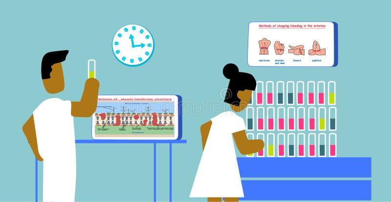 O homem e a mulher dos povos do laboratório pesquisam o teste do ADN do sangue contra a ilustração do gráfico do infi da educação ilustração stock