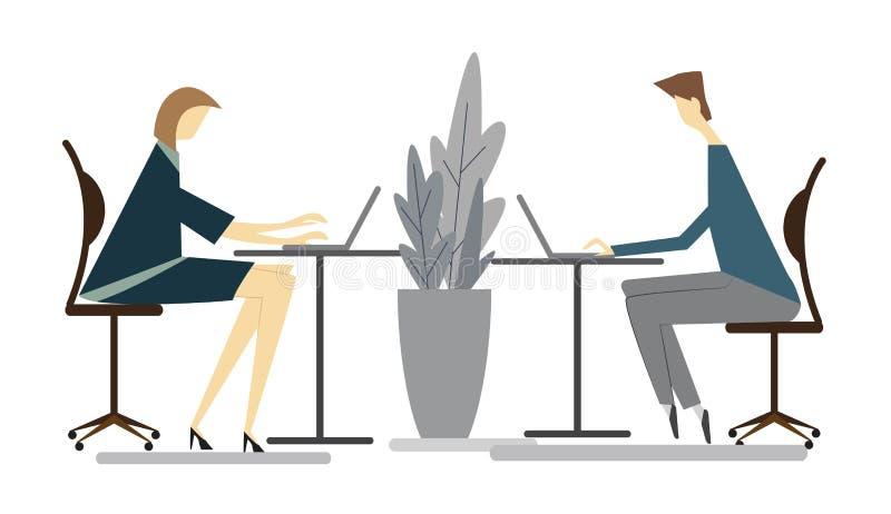 O homem e a mulher elegantes estão sentando-se na cadeira e estão trabalhando-se no computador ilustração do vetor