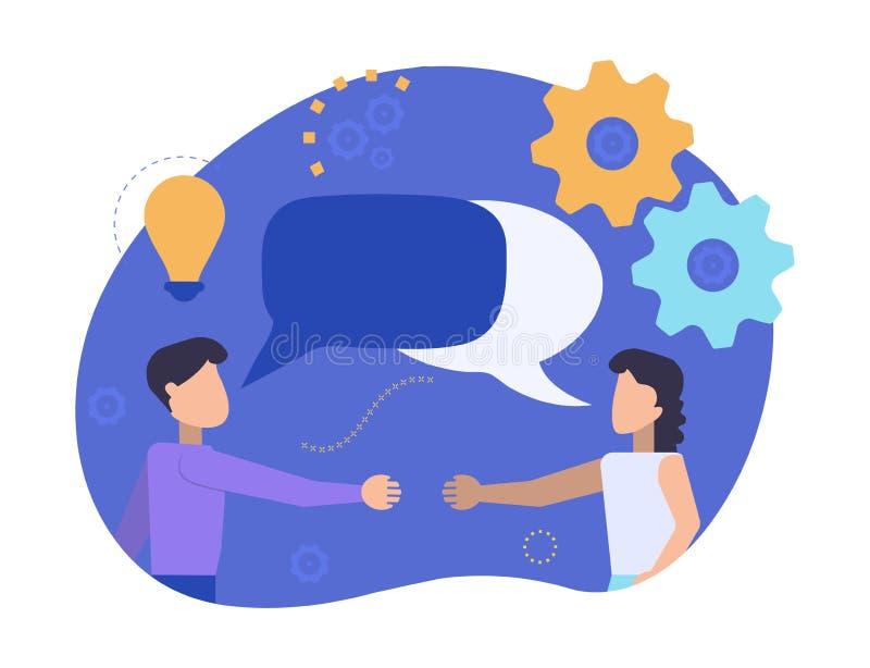 O homem e a mulher estão encontrando-se para agitar as mãos Os sócios comunicam-se e falar Os homens de negócios discutem, notíci ilustração do vetor