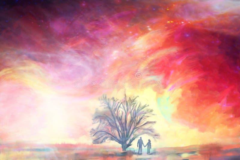 O homem e a mulher ficam sob o carvalho grande contra o céu colorido, pintura da ilustração, elementos abstratos do fundo do amor ilustração royalty free