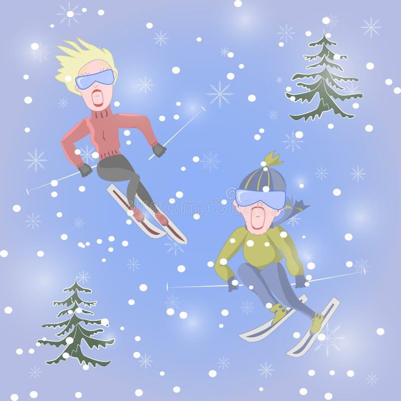 O homem e a mulher junto estão gritando no medo durante o esqui ilustração royalty free