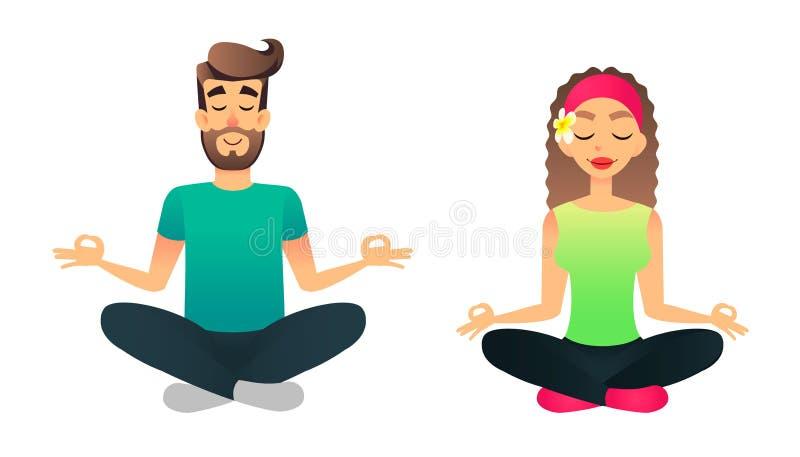 O homem e a mulher meditam na pose dos lótus Lição praticando da ioga do casal feliz dos desenhos animados Jovens que fazem o asa ilustração do vetor