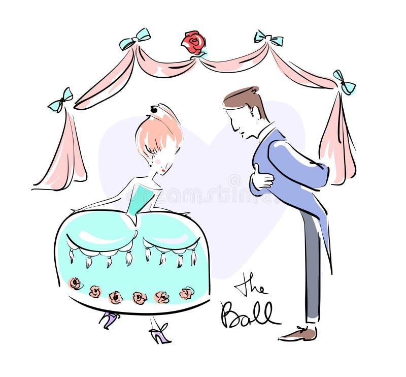 O homem e a mulher na bola vestiram acima fazer reverências ilustração stock