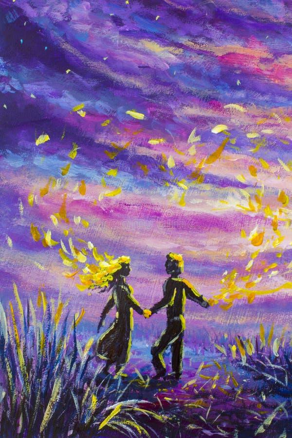 O homem e a mulher originais do sumário da pintura estão dançando no por do sol Noite, natureza, paisagem, céu estrelado roxo, ro ilustração do vetor