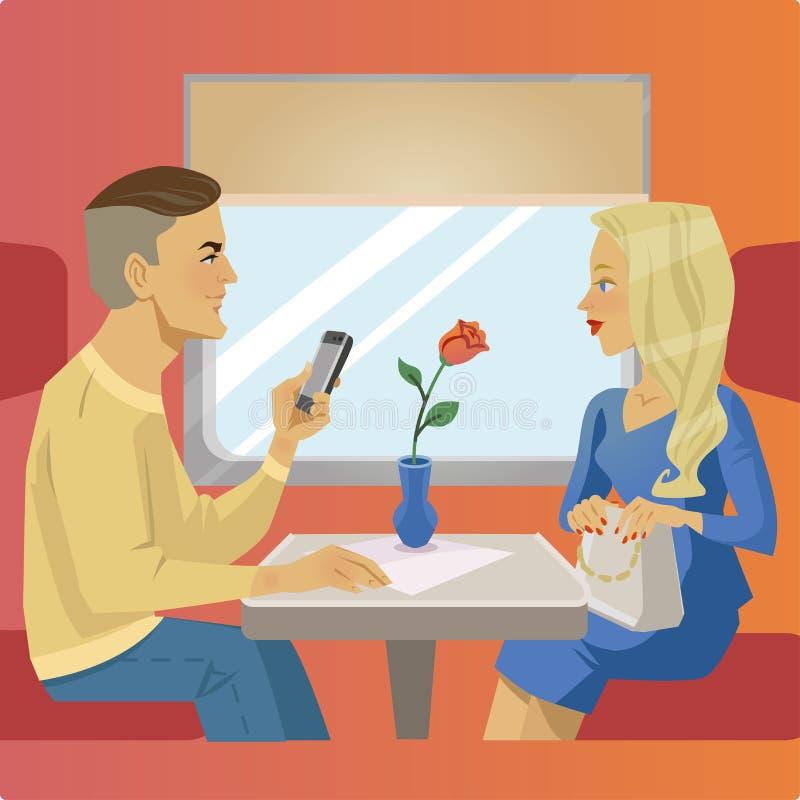 O homem e a mulher sentam-se perto da janela no restaurante ou no café do trem Situação de viagem ilustração do vetor