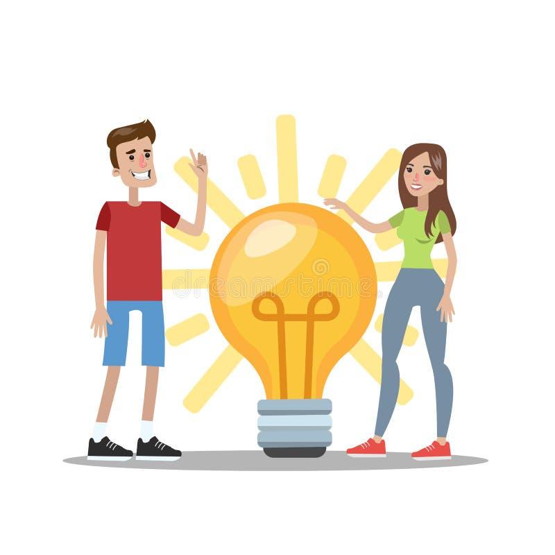 O homem e a mulher têm uma ideia ilustração stock