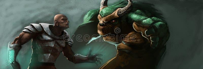 O homem e o monstro imagens de stock