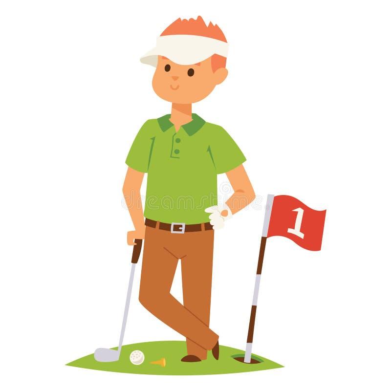 O homem e os acessórios do vetor do jogador de golfe que golfing o balanço masculino do clube ostentam a ilustração do equipament ilustração stock