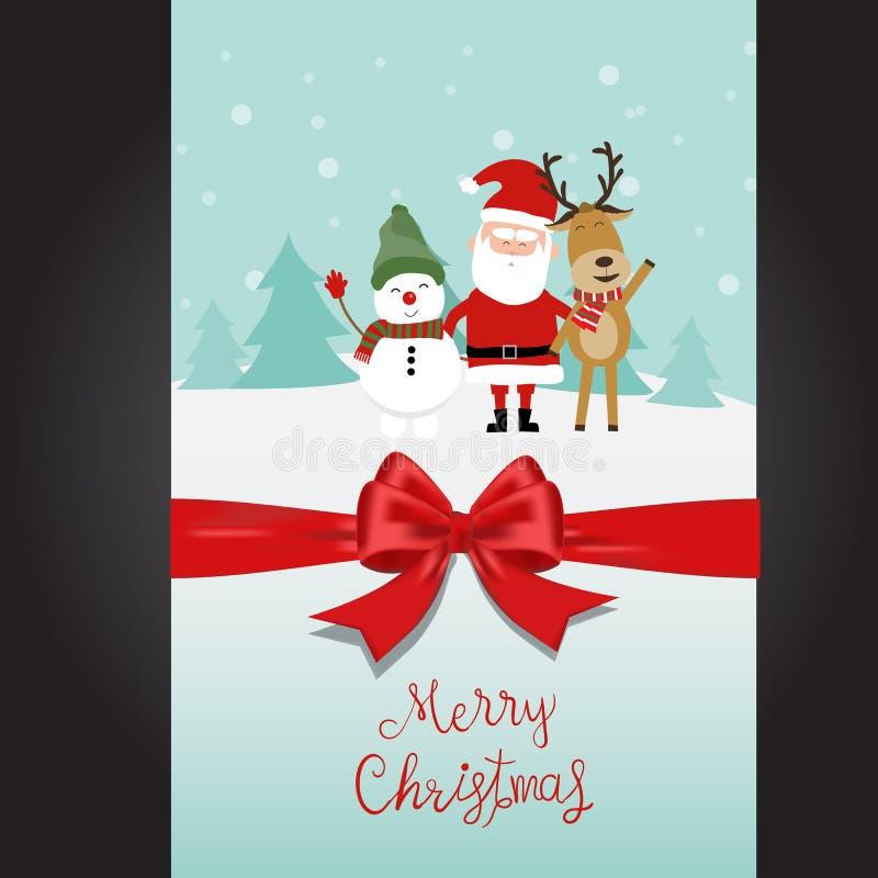 O homem e a rena da neve de Papai Noel do Feliz Natal entregam a rotulação ilustração stock