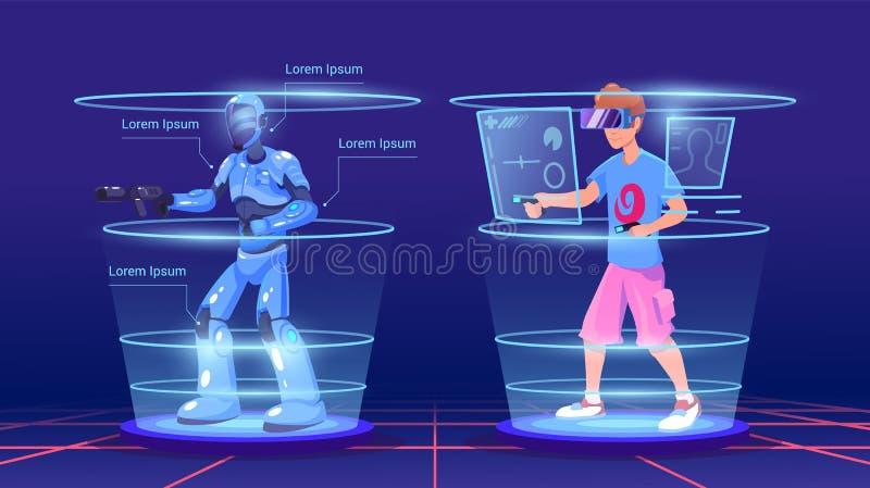 O homem e seu caráter virtual no jogo na armadura Jogo esperto da tecnologia da realidade virtual Auriculares da realidade virtua ilustração royalty free