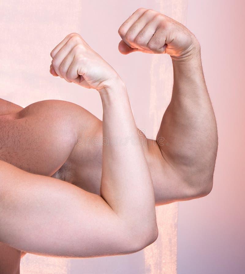 O homem e uma mulher mostram seu bíceps imagem de stock