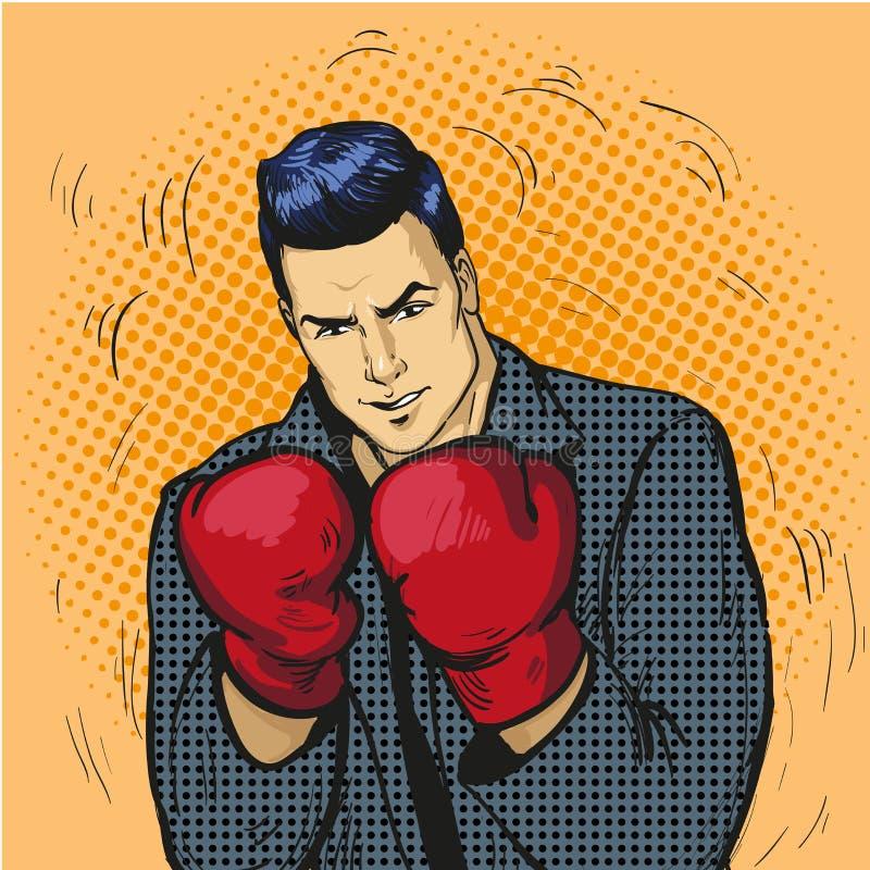 O homem em luvas de encaixotamento vector a ilustração no estilo cômico do pop art Homem de negócios pronto para lutar e proteger ilustração royalty free