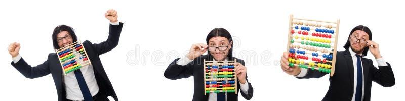 O homem engraçado com calculadora e ábaco foto de stock royalty free