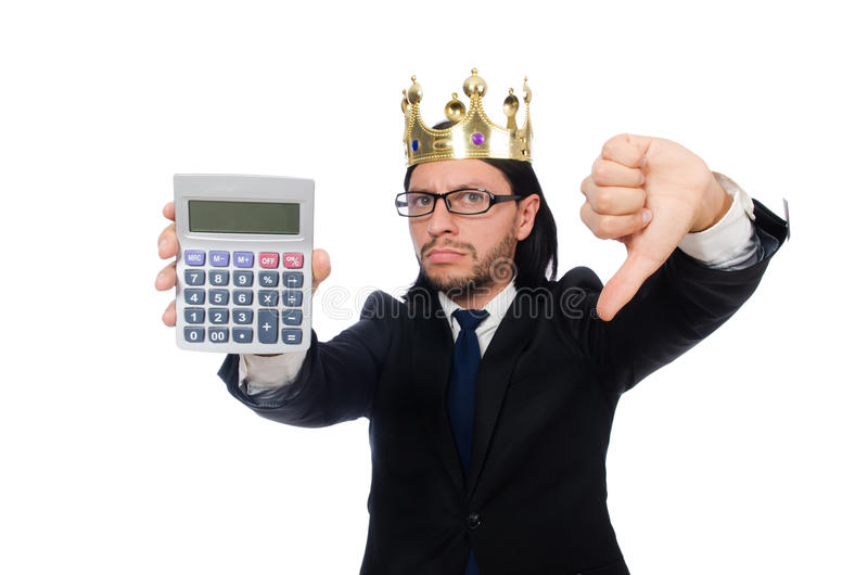 O homem engraçado com calculadora e ábaco fotografia de stock