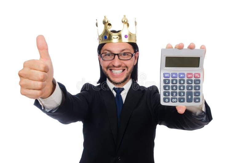 O homem engraçado com calculadora e ábaco fotos de stock