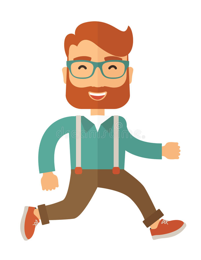 O homem engraçado dos desenhos animados está correndo ilustração stock