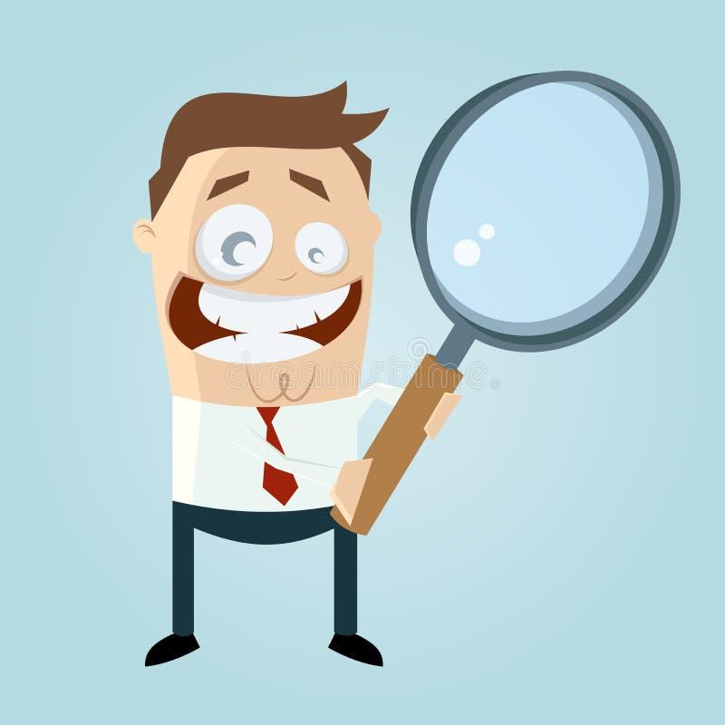 O homem engraçado dos desenhos animados está procurarando ilustração do vetor