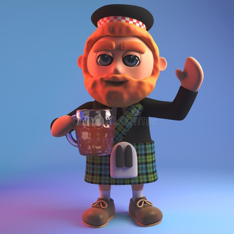 O homem escocês feliz no kilt tradicional relaxa com uma pinta deliciosa da cerveja, ilustração 3d ilustração stock