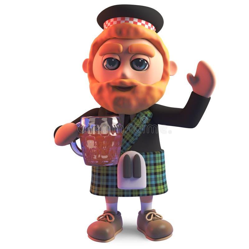 O homem escocês sedento no kilt bebe uma pinta saboroso da cerveja, ilustração 3d ilustração stock