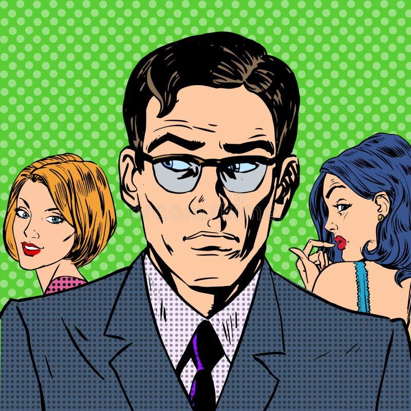 O homem escolhe entre um amor de dois relacionamentos das mulheres ilustração do vetor