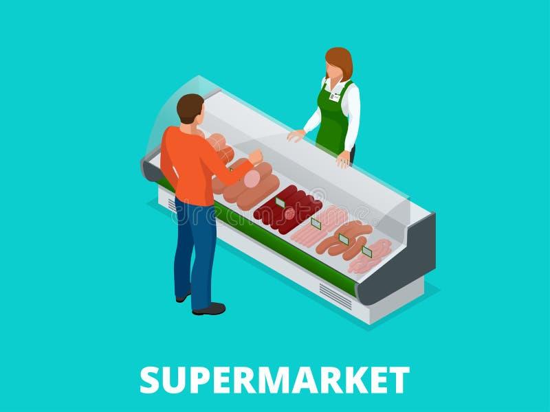 O homem escolhe salsichas na loja As salsichas e a carne fresca na loja apresentam a ilustração isométrica do vetor Produtos de c ilustração do vetor