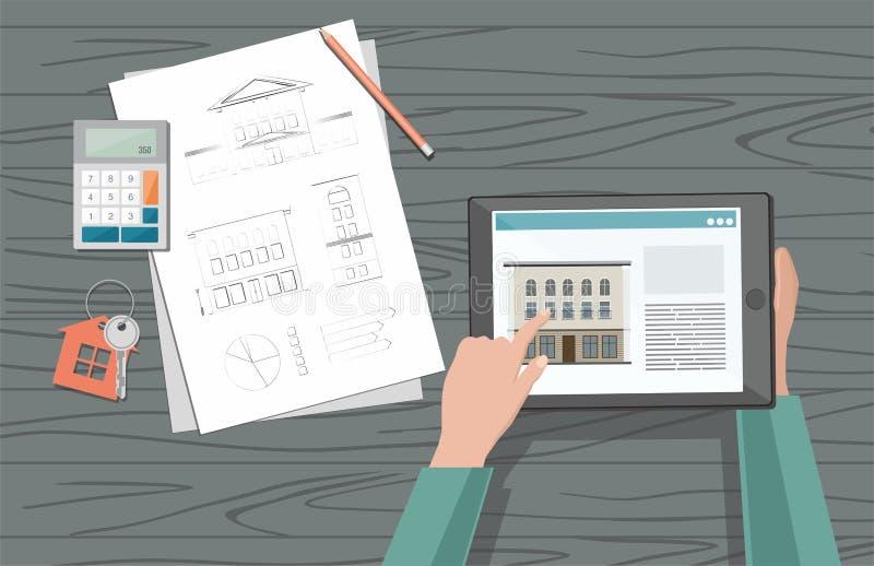 O homem escolhe a venda e a compra em casa Conceito do aluguel de casa ilustração do vetor