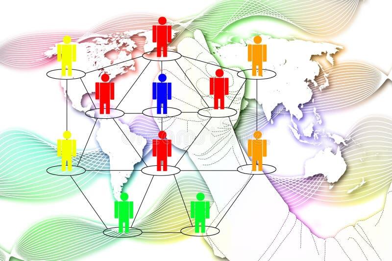 O homem escreve o mercado da rede no fundo do mapa do mundo. ilustração do vetor