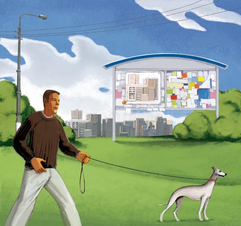 O homem está andando com um cão nos campos nos subúrbios de uma cidade do multi-andar Placa de boletim verão Céu azul com nuvens ilustração royalty free