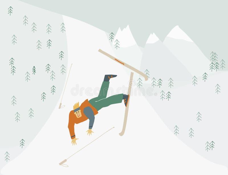 O homem está aprendendo esquiar quedas do menino da figura humana da montanha no movimento ilustração do vetor