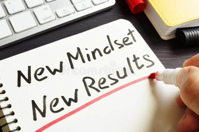 O homem está escrevendo a Mindset novo resultados novos fotos de stock royalty free