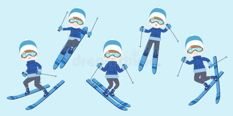 O homem está esquiando ilustração do vetor