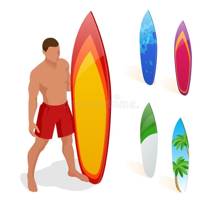 O homem está estando com uma prancha em suas mãos Ilustração isométrica do vetor 3d liso Esportes de água extremos ilustração royalty free