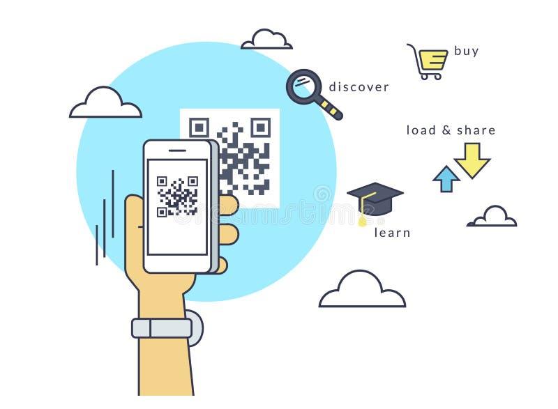 O homem está fazendo a varredura do código de QR através do smartphone app ilustração stock