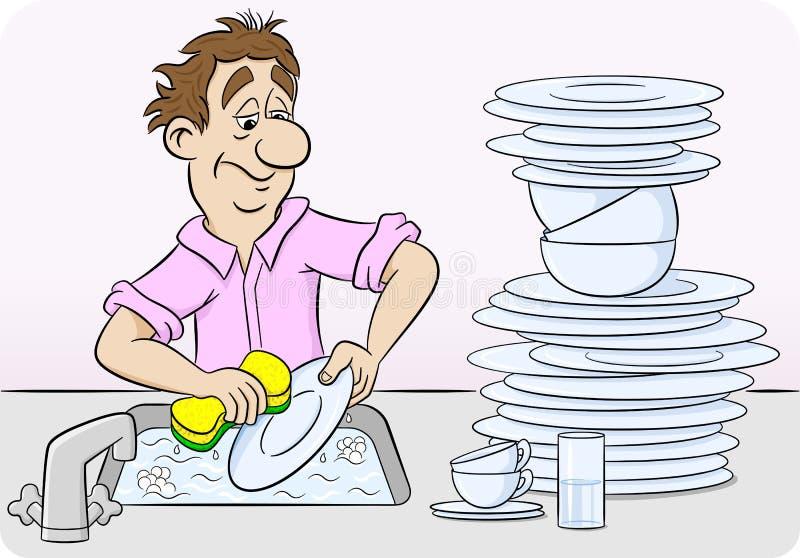 O homem está lavando acima dos pratos ilustração royalty free