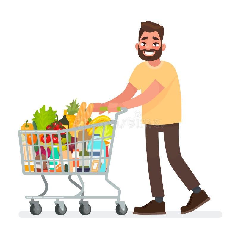 O homem está levando um carro do mantimento completamente dos mantimentos no supermercado Ilustração do vetor ilustração stock