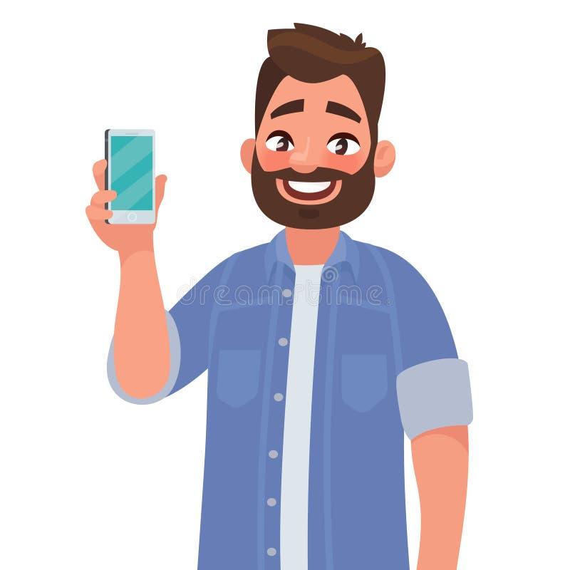 O homem está mostrando o telefone Povos e dispositivos ilustração do vetor