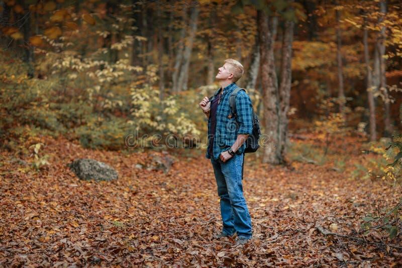O homem está na floresta do outono imagens de stock