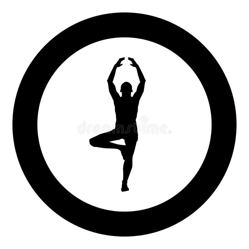 O homem está na posição de lótus que faz a ilustração de cor do preto do ícone da silhueta da ioga no círculo do círculo ilustração do vetor