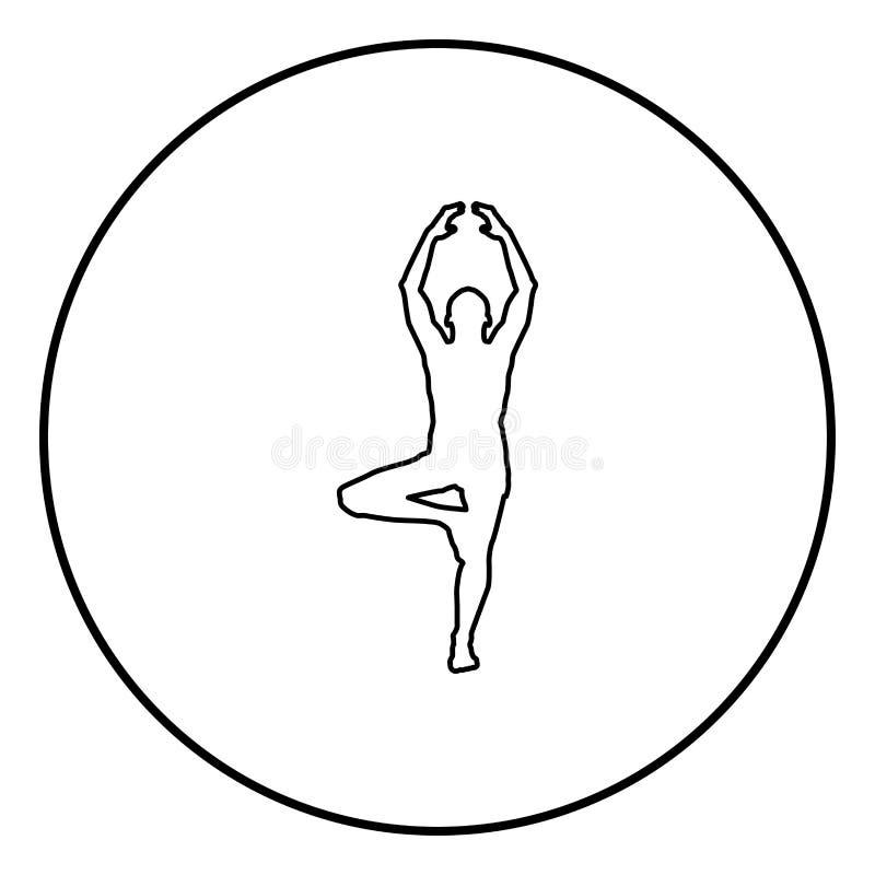 O homem está na posição de lótus que faz a ilustração de cor do preto do ícone da silhueta da ioga no círculo do círculo ilustração royalty free