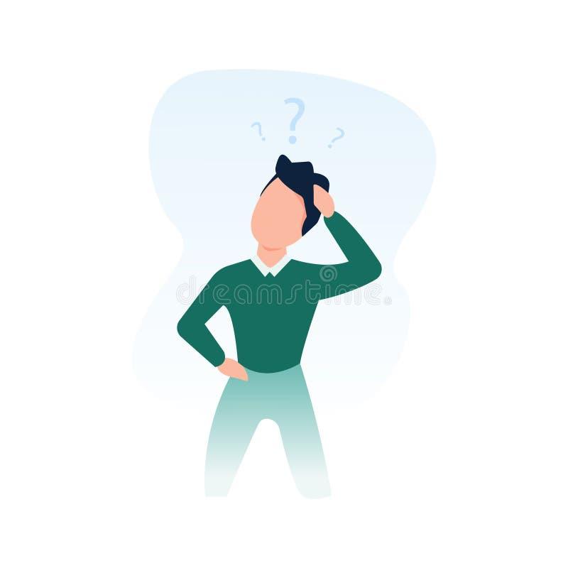 O homem está pensando com pontos de interrogação no fundo branco O conceito do negócio, tomada de decisão, faz uma escolha ilustração royalty free