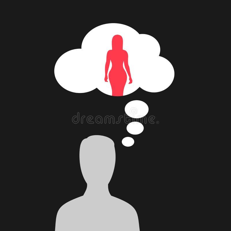 O homem está pensando sobre a mulher bonita e 'sexy' ilustração royalty free